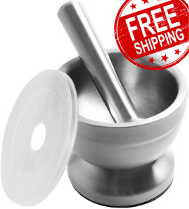 Bekith Brushed Stainless Steel Mortar and Pestle/Spice Grinder/Molcajete