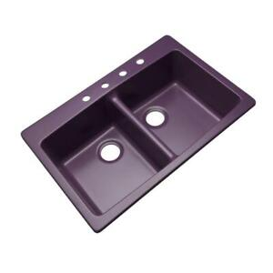 Waterbrook Dual Mount Granite 33 in. 4-Hole Double Bowl Kitchen Sink Plum