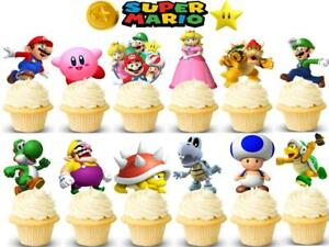 Super Mario Bros Cupcake Toppers Kids Birthday Party Supplies Lugi 24 Card Picks