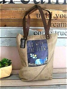 quot;GO WITH THE FLOWquot; Canvas MARKET BEACH FARMERS TOTE BAG Reusable Recycled