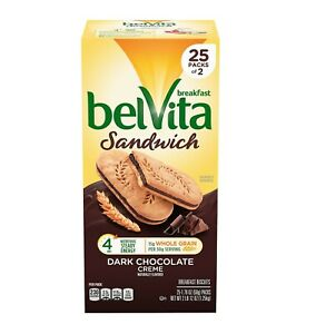 belVita Sandwich Dark Chocolate Creme Breakfast Biscuits 2 per pk., 25 pk.
