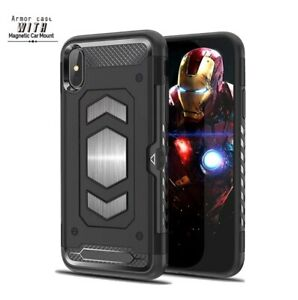 FOR APPLE IPHONE XR ARMOR METAL FOR MAGNET STAND RUGGED CREDIT CARD WALLET CASE $6.49