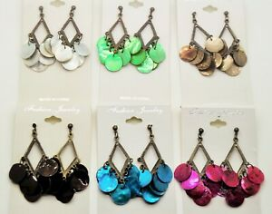 Lot of 6 12 pcs winter shell color drop dangle fashion wholesale earrings lot 4