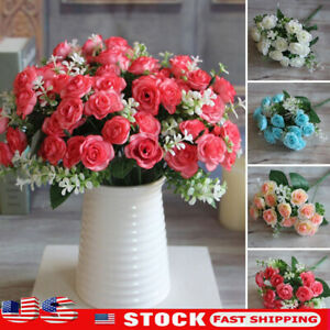 15Heads Artificial Rose Bouquet Fake Silk Flower Party Home Wedding Floral Decor