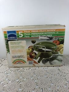 VINTAGE MIRRO 5 PIECE ROTARY FOOD PRESS PROCESSOR GRATER E-9607 New Sealed