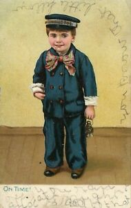 Antique On Time Little Men and Women Series Raphael Tuck Postcard Posted 1908 $9.99