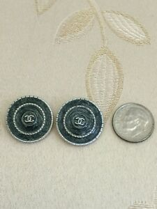 CHANEL BUTTONS 2x Deep Gray Metal 20mm Replacement Sewing NEW $37.99
