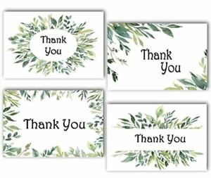 100 Thank You Cards & Envelopes 4 Green Grass Designs Blank Inside 4x6 Inches