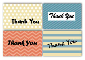 100 Thank You Cards amp; Envelopes 4 Designs Dots Stripes Chevron 4x6 inches