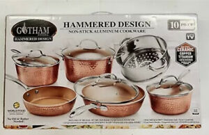 🔥Gotham Steel Hammered Collection 10 piece cookware set triple coated nonstick