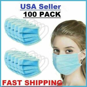 100 PCS Face Mask General Surgical Dental Disposable 3 Ply Earloop Mouth Cover $10.67