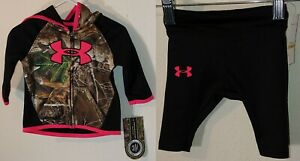 NWT Full Zip Hoodie Leggings SZ 0 3 Months Under Armour RealTree Camo Camouflage $39.00