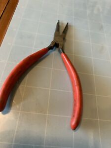 Snap-on Electronic Needle Nose Pliers E704 USA 45 Degree Angled Serrated