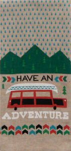 Have an Adventure Camping Lodge Tan Chambray Cotton Kitchen Tea Towel
