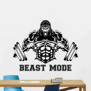 Beast Mode Sign Wall Decal Gorilla Barbell Vinyl Sticker Gym Poster Decor 1084