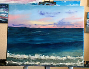 11x14in Sunset Seascape Oil Painting $40.00
