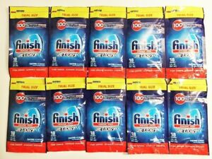 Finish Jet-Dry Rinse Aid Lot Of 10-2oz. Sachets 18 Washes Each Brand New Sealed