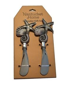 Cheese Spreaders Dip Butter Jelly Jam Knife set of 2 Shell Starfish Beach Summer