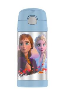 New Funtainer Thermos Frozen 2 Blue Anna Elsa Olaf 12oz New Free Shipping (H