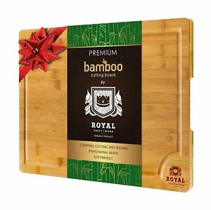EXTRA LARGE Organic Bamboo Cutting Board Juice Groove Cheese Vegetables Serving