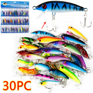 Lot 10pcs Kinds of Fishing Lures Crankbaits Hooks Minnow Baits Tackle Saltwater