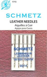 5 PACK SCHMETZ LEATHER SEWING MACHINE NEEDLES SIZE 14 90 Part# S 1715 $6.99