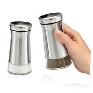 Premium Salt and Pepper Shakers with Adjustable Pour Stainless Steel