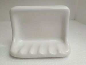 White Ceramic Soap Dish Tray Tub Shower Vintage Bathtub Daltile Color 0100 Gloss