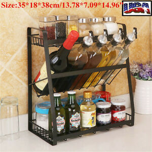 US 3 Tier Kitchen Spice Rack Stainless Steel Countertop Jars Bottle Shelf Holder