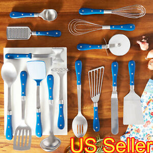 THE PIONEER WOMAN FRONTIER COLLECTION 15-PIECE COOKING UTENSIL SET COBALT BLUE
