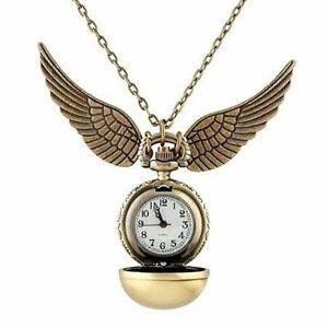 Harry Potter Golden Snitch Watch Necklace Quidditch Pocket Clock Pendant Steampu $10.99