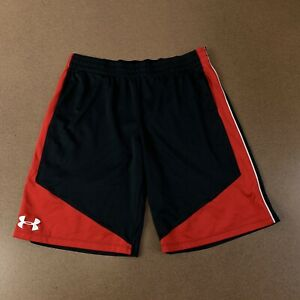 Under Armour Heat Gear Loose Boys Youth XL Black Red Athletic Elastic Shorts $19.99