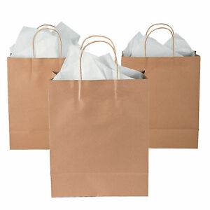 Large Brown Kraft Paper Gift Bags - Party Supplies - 12 Pieces