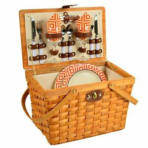 (D) Frisco Picnic Basket for Two Backpack Bag for Outdoor (Orange)