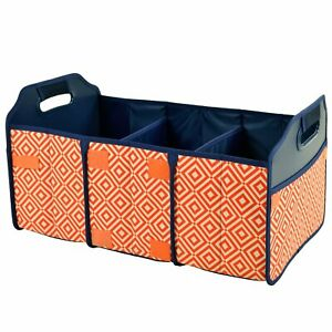 (D) Collapsible Trunk Organizer, Picnic Backpack Bag for Outdoor (Orange)