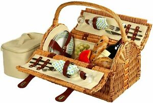 (D) Susy Picnic Basket for 2 Backpack Bag for Outdoor (Green)