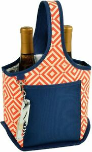 (D) Two Bottle Picnic Backpack Bag, Wine Bottle Carrier with Corkscrew (Orange)