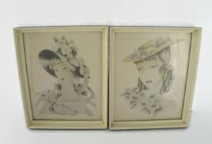 Antique Lithographs 19th Century Women With Bonnets Solid Wood Frames Glass $50.00