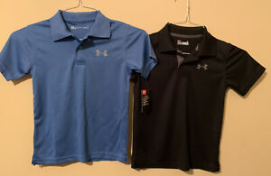 Under Armour Boy's Match Play Polo Shirts Lot Of 2 Blue & Black Youth 6 New $21.99