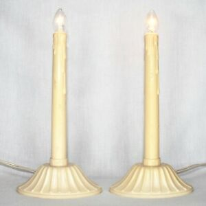 Vintage Christmas Candlestick Light Window Lights Off White Electric Lot 0f 2
