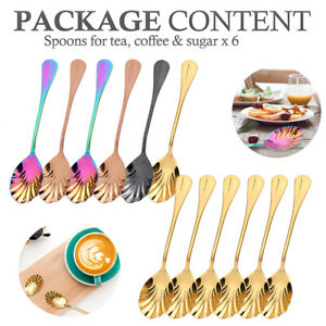 6x Colorful Shell Spoon Stainless Steel Dessert Ice Cream Tea Coffee Sugar Spoon