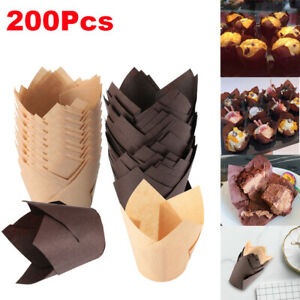 200Pcs Tulip Baking Cups Natural Cupcake Muffin Paper Liners Grease-Proof Party