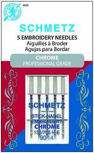 SCHMETZ CHROME EMBROIDERY SEWING MACHINE NEEDLES SIZE 90 14 5 PACK S 4020 $8.25