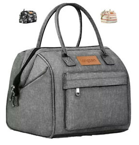 Portable Adults & Kids Insulated Lunch Bag Soft Side Gray Cooler Tote Pockets