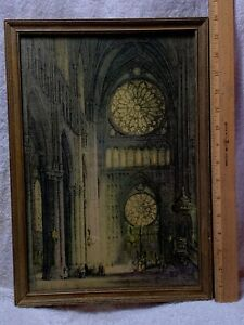 "Antique Rose Window Of Reims Cathedral Framed PrintLithograph 16"" X 11"""