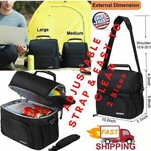 Insulated Lunch Bag Tote 2 Compartment Reusable Soft Cooler Bag Multiple Pockets