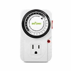 BN-LINK 24 Hour Plug-in Mechanical Timer Grounded, Accurate 1 Pack, White