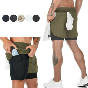 Mens 2 in 1 Shorts Athletic Built in Quick Dry Liner with Towel Loop for Running $14.78