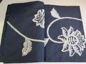 Navy and White Floral Embroidered Cotton Table Runner NIP