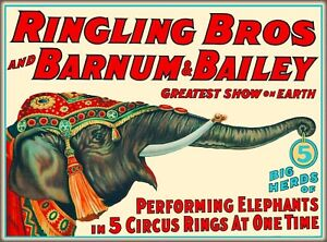 Ringling Brothers Barnum Bailey Circus Elephant Vintage Travel Art Poster Print $9.59